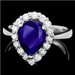 14KT White Gold 2.50ct Sapphire and Diamond Ring A4374