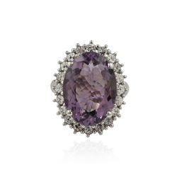 SILVER 10.13ct Amethyst and White Sapphire Ring SLV105