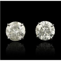 14KT White Gold 4.18ctw Diamond Solitaire Earrings A4251