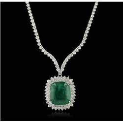 18KT White Gold 20.29ct Emerald and Diamond Necklace A4235