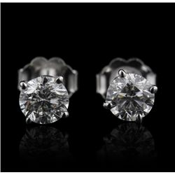 14KT White Gold 1.06ctw I1/H Diamond Solitaire Earrings A4446