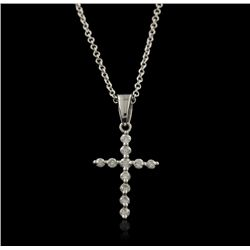 14KT White Gold 0.15ctw Diamond Pendant With Chain GB1008