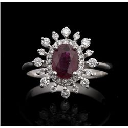 14KT White Gold 1.06ct Ruby and Diamond Ring FJM2509