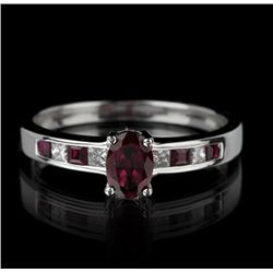 14KT White Gold 0.86ctw Ruby and Diamond Ring FJM2284