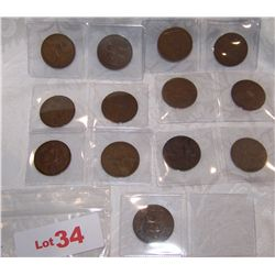 (13X$) EARLY BRITISH LARGE CENTS 1916-1947