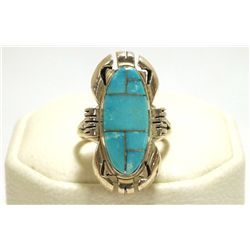 Navajo Turquoise Inlay Sterling Silver Women's Ring - Ray Jack