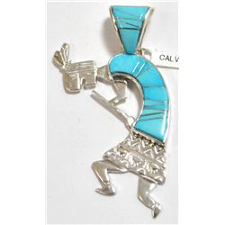 Navajo Turquoise Inlay Sterling Silver Kokopelli Pendant - Calvin Begay