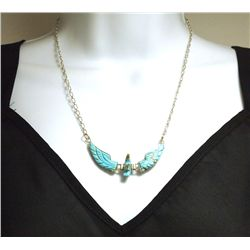 Navajo Turquoise & Mother of Pearl Beak Sterling Silver Necklace - Ben Livingston