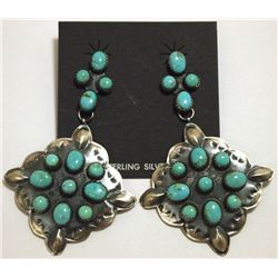 Navajo Turquoise Sterling Silver Post Earrings - Albert J Brown