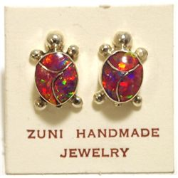 Zuni Red Opal Inlay Sterling Silver Turtle Post Earrings - Vernon Waikaniwa