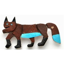 Zuni Pipestone Fox Pendant & Pin - Stephan Lonjose