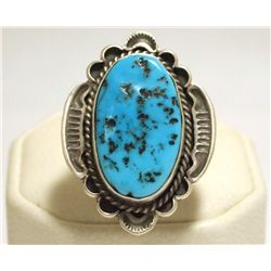 Navajo Sleeping Beauty Turquoise Sterling Silver Women's Ring - R. Tom