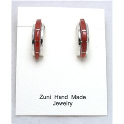 Zuni Coral Half-Ring Earrings