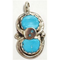 Zuni Turquoise Sterling Silver Snake Pendant - Effie Calavaza