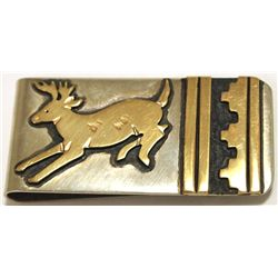 Navajo 12k Gold Fill over Sterling Silver Deer Money Clip - Tommy Singer