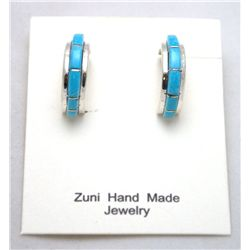 Zuni Turquoise Half-Ring Earrings - Antonio Duran