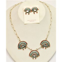 Zuni Multi-Stone Sunface Sterling Silver Necklace & Earrings Set - Edmond Cooeyate