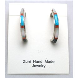 Zuni Multi-Stone Thin Half-Ring Earrings