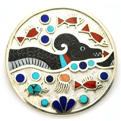 Zuni Multi-Stone Sea Serpent Sterling Silver Circle Pendant & Pin - Rudell & Nancy Laconsello