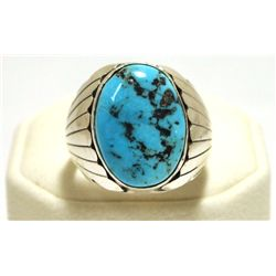 Navajo Sleeping Beauty Turquoise Sterling Silver Men's Ring - Mary Ann Spencer