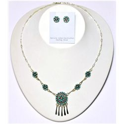 Zuni Turquoise Hanger Pendant Necklace & Earrings Set