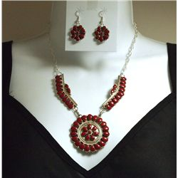 Navajo Coral Sterling Silver Necklace & Earrings Set - D. Benally