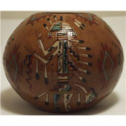 Navajo Etched Painted & Finished Yei Pottery - Nancy Chilly