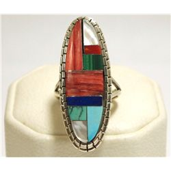 Navajo Multi-Stone Inlay Sterling Silver Women's Ring - Ray Jack