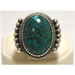 Old Pawn Navajo Spider Web Kingman Turquoise Sterling Silver Men's Ring - Kirk Smith