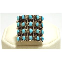 Navajo Turquoise Dots Sterling Silver Women's Ring - Irene J