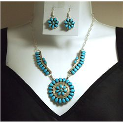 Navajo Turquoise Sterling Silver Necklace & Earrings Set - D. Benally