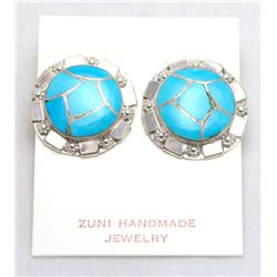 Zuni Turquoise Cracked Eggshell Circle Earrings