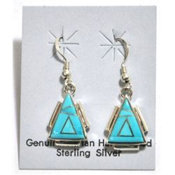 Navajo Turquoise Sterling Silver Triangle French Hook Earrings - Calvin Begay