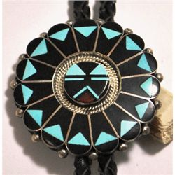 Zuni Black Jet & Turquoise Sunface Sterling Silver Bolo Tie - Ben & Shirley Tzuni