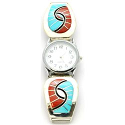 Zuni Coral & Turquoise Men's Watch - Amy Quandelacy