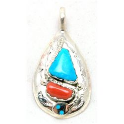 Zuni Coral and Turquoise Medium Teardrop Snake Pendant - Effie Calavaza