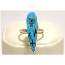 Zuni Turquoise Corn Maiden Sterling Silver Women's Ring - Chad Quandelacy & Valerie Comosona