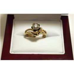 Dead Pawn Non-Native Diamond 14k Gold Flower Women's Ring - Cosmic
