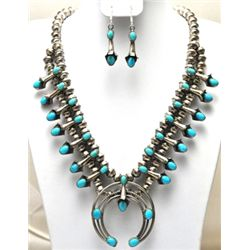 Navajo Turquoise Squash Blossom Necklace & Earrings Set - Phil & Lenore Garcia