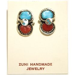 Zuni Coral & Turquoise Sterling Silver Snake Post Earrings - Effie Calavaza