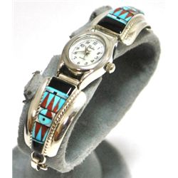 Zuni Multi-Stone Sun Face Sterling Silver Women's Watch - Raylan & Patty Edaakie
