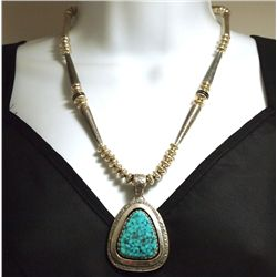 Old Pawn Navajo Stormy Mountain Turquoise Sterling Silver Necklace - Jack Tom