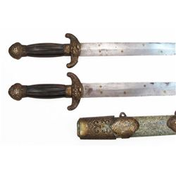 A CHINESE QING DYNASTY PAIRED JIAN SWORD