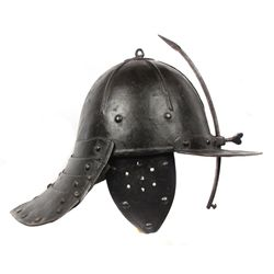 AN ENGLISH LOBSTERTAIL BURGONET HELMET
