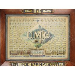 WONDERFUL LATE 1880'S EARLY 1890'S UNION METALLIC CARTRIDGE COMPANY CARTRIDGE BOARD IN ORIGINAL FRAM