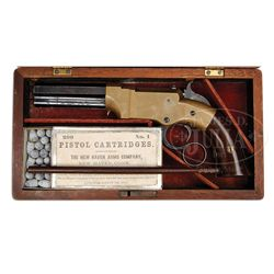 NEARLY NEW RARE CASED VOLCANIC NO. 1 LEVER ACTION PISTOL WITH AMMUNITION.
