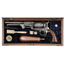RARE CASED ENGRAVED COLT THIRD MODEL ENGLISH DRAGOON PERCUSSION REVOLVER.