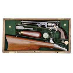 EXTREMELY RARE CASED COLT EARLY FOURTH MODEL 1851 NAVY PERCUSSION REVOLVER WITH SHOULDER STOCK.