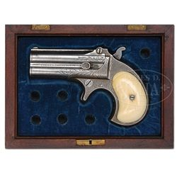 VERY RARE CASED ENGRAVED REMINGTON TYPE 1 TRANSITIONAL (MODEL NO 1, FIRST VARIANT) DOUBLE DERRINGER.