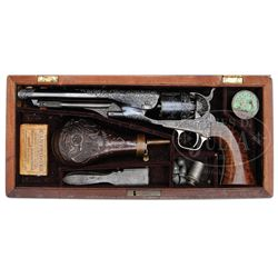 RARE & UNUSUAL CASED ENGRAVED COLT MODEL 1860 ARMY PERCUSSION REVOLVER.